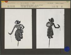 Figures de théâtre d'ombres malais : Princesse Tuan Putri Lela Ma'yong et...