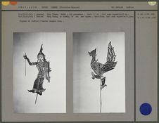 """Figure de théâtre d'ombres siamois """"Nang"""" : Oiseau Hong Thong, roi des..."""