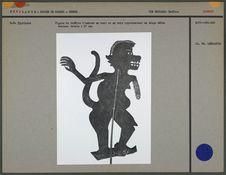 Figure de théâtre d'ombres : un singe mâle