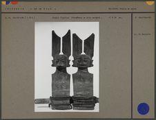 Double figurine d'ancêtres en bois sculpté