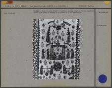 Tenture en toile de coton décoré de broderies