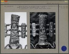 Détail du tablier : os figurant Ratnasambhava, sur fond en tissu de coton