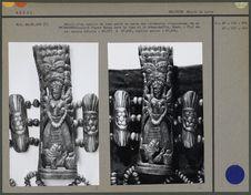 Détail du tablier : os figurant Durga, sur fond en tissu de coton