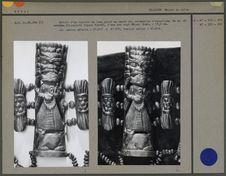 Détail du tablier : os figurant Varahî, sur fond en tissu de coton