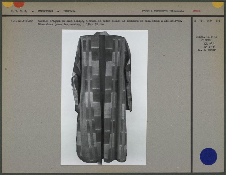 Manteau d'homme en soie ikatée