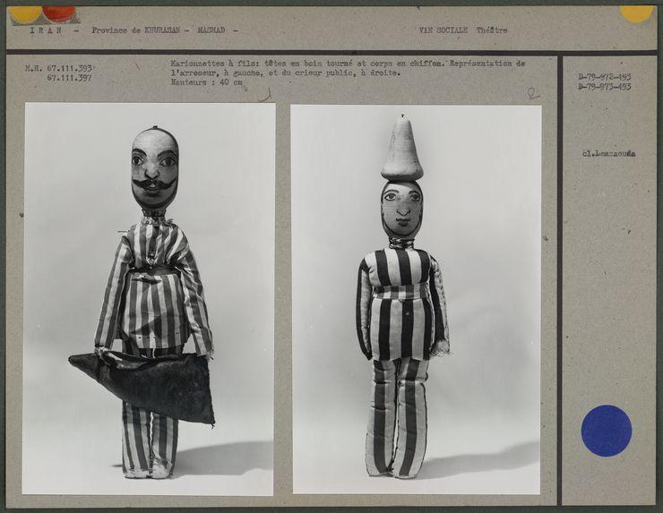 Marionnettes à fils : l'arroseur et le crieur public