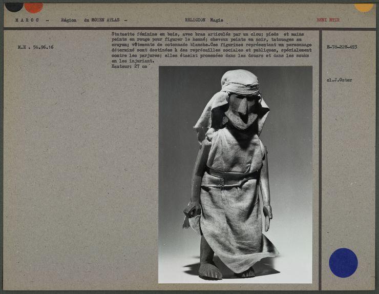 Statuette féminine en bois, bras articulés