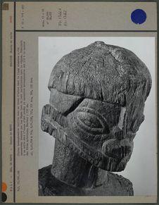 Statue hermaphrodite taillée dans un tronc d'arbre (tête)