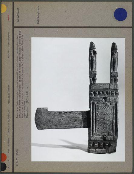 """Serrure """"dogon"""" en bois sculpté : deux jumelles"""
