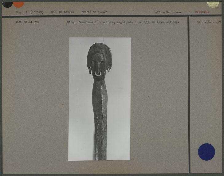 Bâton d'armature d'un wasimba, représentant une tête de femme Malinké
