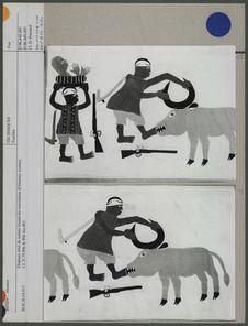 Drapeau orné de scènes louant les souverains d'Abomey