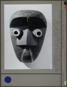 Masque de bois peint en rouge blanc et noir