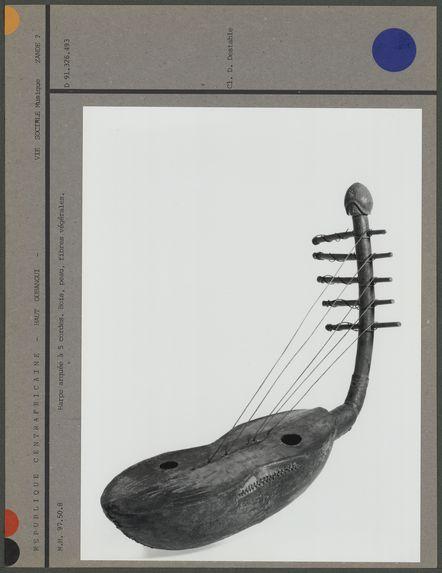 Harpe arquée à 5 cordes en bois et peau