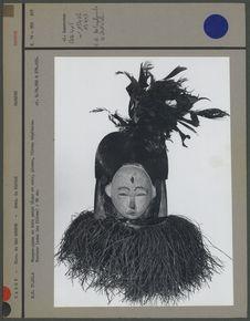 Masque-janus en bois peint