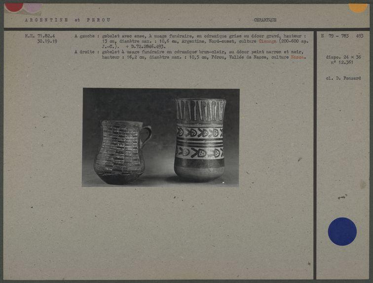 Gobelets à usage funéraire en céramique
