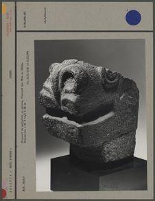 Fragment de sculpture en pierre : tête de félin