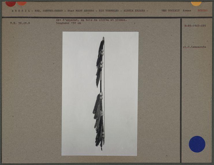 Arc d'apparat, en bois de ciriba et plumes