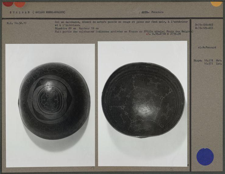 Bol en calebasse, motifs peints sur fond noir