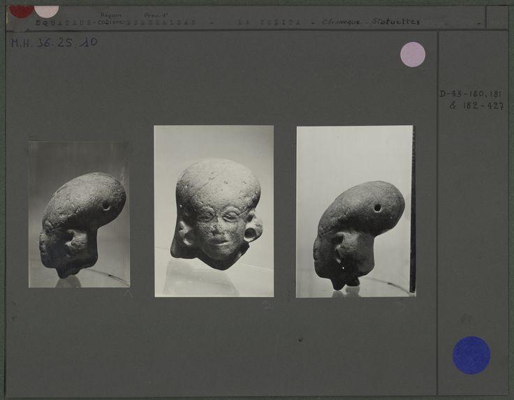 Tête humaine casquée en céramique grisâtre à crâne déformé