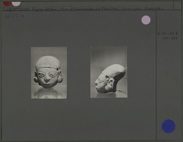 Tête humaine à crâne déformé en céramique beige