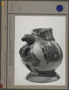 Vase globulaire en céramique polychrome
