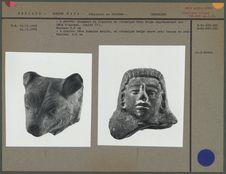 Fragment de figurine en céramique, animal, et tête humaine moulée en céramique...