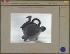 Statuette en céramique peinte : dindon