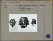 Petites masques en cuivre et en bronze