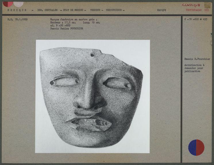 Masque funéraire en marbre gris