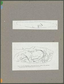 Gravure de cheval acéphale et tracé serpentiforme