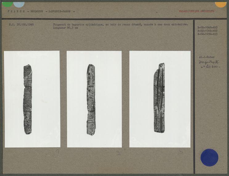 Fragment de baguette cylindrique, bois de renne