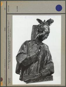 Buste en bronze, femme asiatique, profil