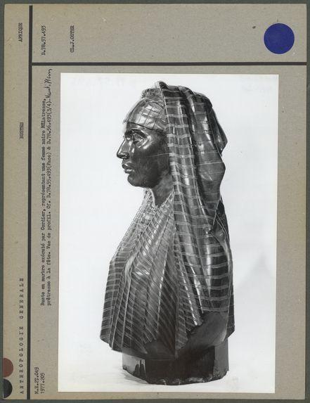 Buste en marbre, femme mulâtresse noire, profil