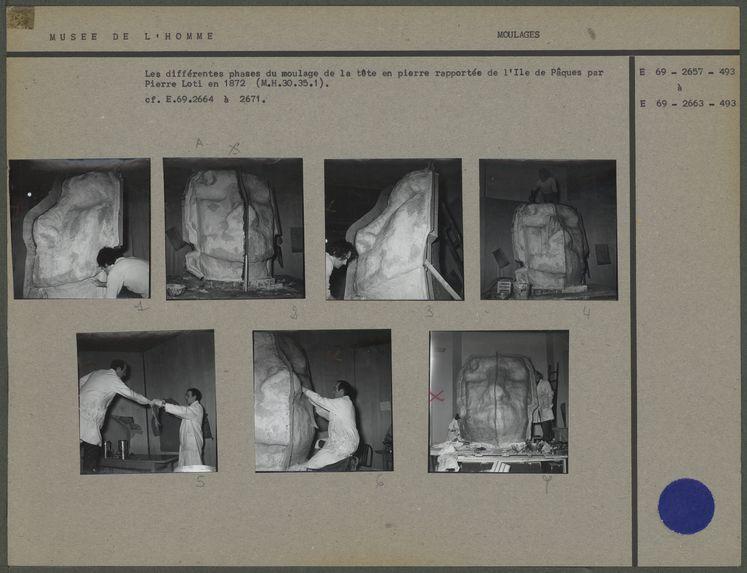 Moulage de la tête en pierre rapportée de l'île de Pâques