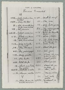 """Première page d'un carnet de racines """"tamahek"""" établi par le Père de..."""