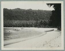 Sans titre [plage bordée de cocotiers avec quelques baigneurs et deux barques]
