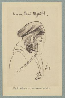 Croquis Marocains. Meknès. Une femme berbère