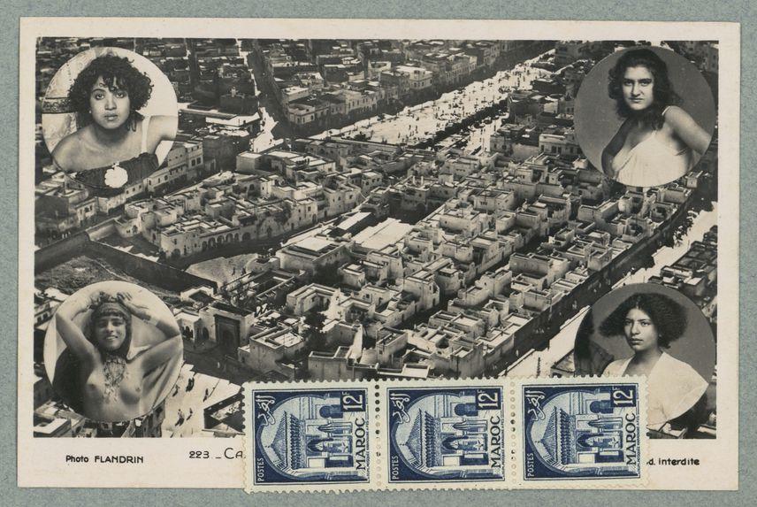 Sans titre [vue aerienne de Casablanca. Portrait de quatre femmes en buste dans les angles]