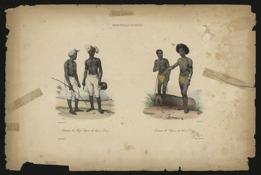 Nouvelle-Guinée. Costume des chefs Papous du hâvre Dorey. Costume des Papous du hâvre Dorey.