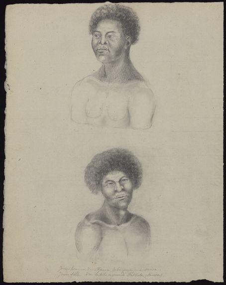 Jeune homme de Fanoa, tribu payenne de Samoa et jeune fille de la tribu payenne de Fraskata (Samoa)