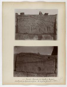 Karnak. Fragments de la bataille de Kadesch. (Entailles faites par les femmes...