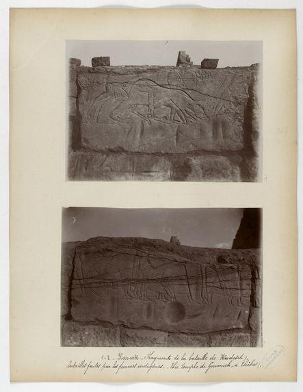 Karnak. Fragments de la bataille de Kadesch. (Entailles faites par les femmes indigènes. Hir [?] temple de Gournah, à Thèbes)
