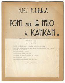 Budget F.I.D.E.S. Pont sur le Milo à Kankan