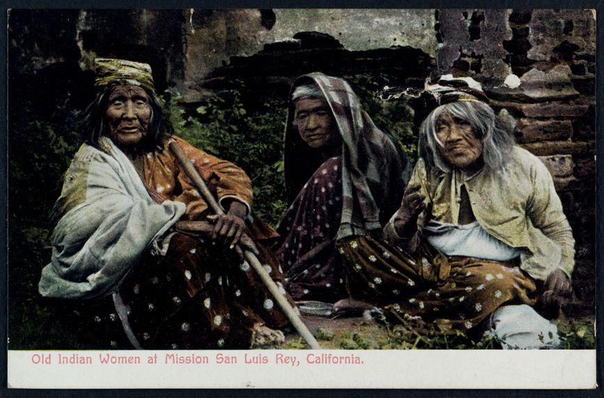 Old Indian women at Mission San Luis Rey, California
