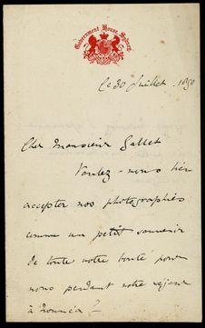 Lettre de M. E Jersey au Gouverneur Gallet en date du 30 juillet 1890