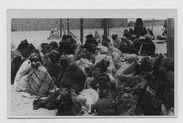 """Les """"affamés"""" attendent près du camp la distribution du riz"""