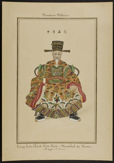 Mandarin militaire : Trung-Quân Chành Nhiit Châm, Maréchal du centre (1er degré, 1ère classe)