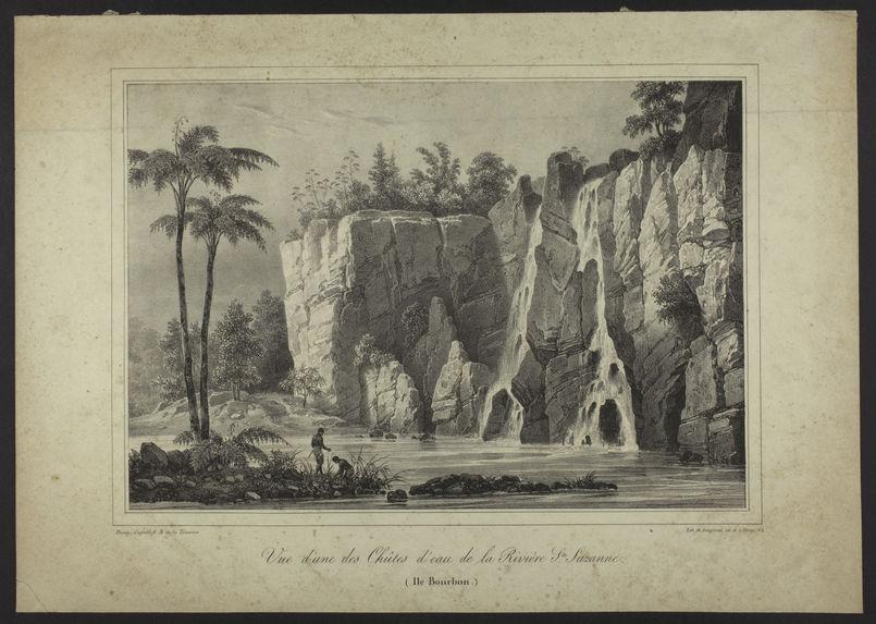 Vue d'une des Chûtes d'eau de la Rivière Ste. Suzanne. (Ile Bourbon)