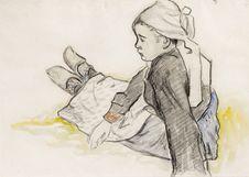 Jeune bretonne assise