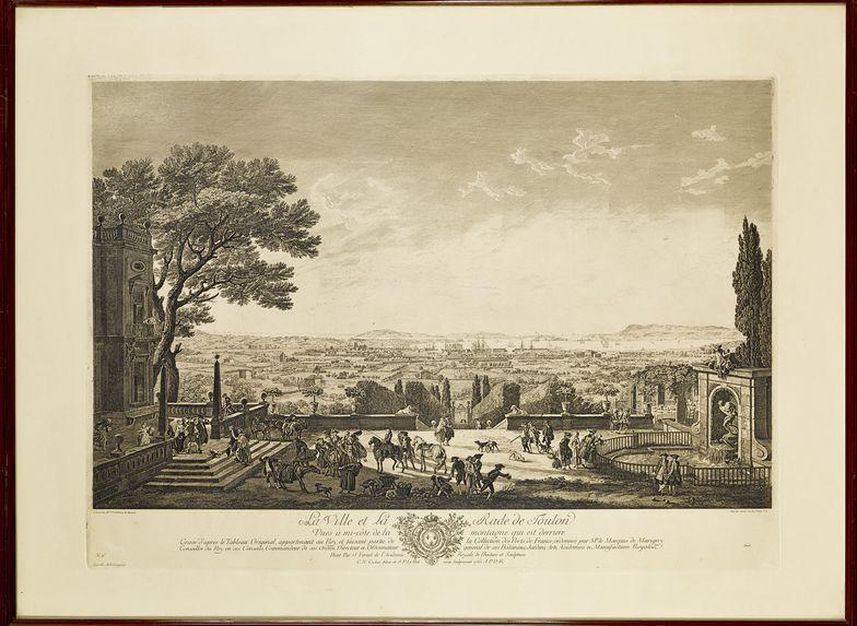 La ville et la rade de Toulon. Vues à mi-côte de la montagne qui est derrière